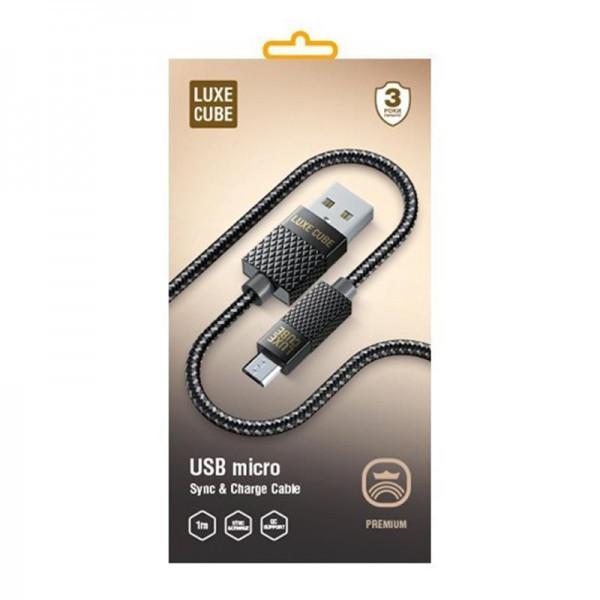 Кабель Luxe Cube Premium USB (тато) = microUSB (тато), 1м, сірий (8886668686167)
