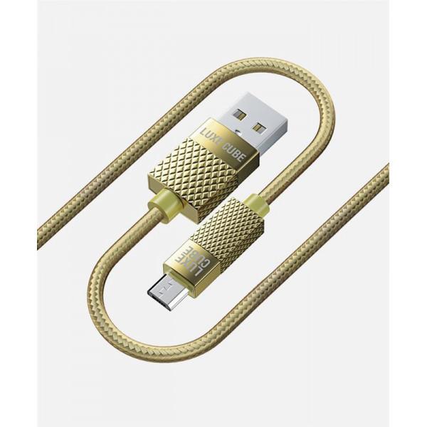 Кабель Luxe Cube Premium USB (папа) = microUSB (папа), 1м, золотистий (8889986489885)