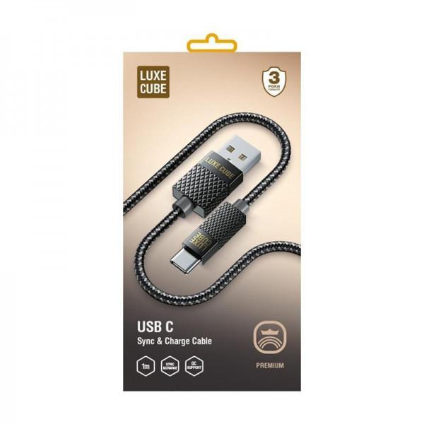 Кабель Luxe Cube Premium USB (тато) = USB Type C (тато) 1м, сірий (8889996899667)
