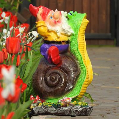 Садовая фигура BnBkeramik Гном на улитке