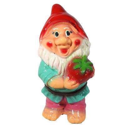 Садовая фигура BnBkeramik Гном с клубникой