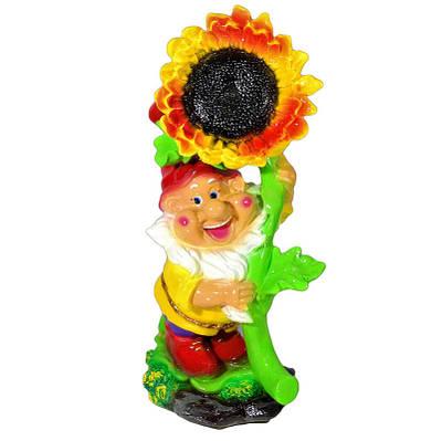 Садовая фигура BnBkeramik Гном с подсолнухом