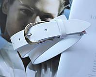 Женский кожаный ремень ширина 3 см белый