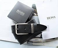 Мужской кожаный ремень Hugo Boss с коробкой и пакетом черный