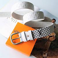 Женский кожаный ремень с тиснением Louis Vuitton белый