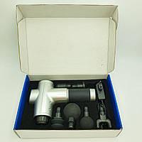 Массажер аккумуляторный для тела мышечный портативный ручной 6 насадок Fascial Gun KH-320 Серый
