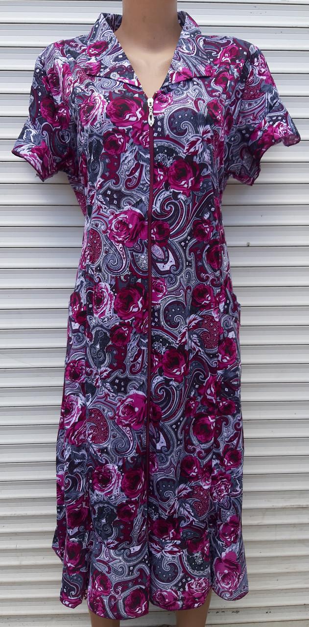 Трикотажный халат с коротким рукавом 3XL Вишневые розы