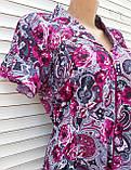 Трикотажный халат с коротким рукавом 3XL Вишневые розы, фото 7