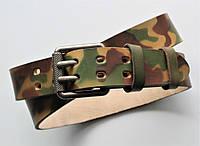 Мужской кожаный крепки ремень хаки