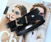 Женский классический кожаный ремень ширина 1.8 см черный
