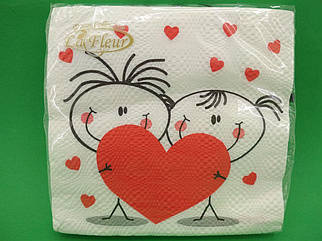 Салфетка (ЗЗхЗЗ, 20шт) La Fleur  Влюбленная парочка(1232) (1 пач)