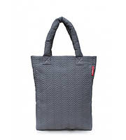 Сумка женская стёганая POOLPARTY Puffy Big Eco Bags Fir серая, фото 1