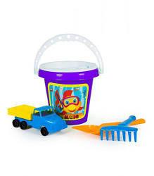 """Набор игрушек для игры в песке """"Классик №4"""" (ведерко, машинка, грабли, лопатка)"""