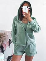 Костюм женский молодежный спортивный летний кофта с капюшоном на молнии, топ и шорты р-ры 42-44,46-48