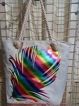 Пляжная женская сумка тканевая принт Перо