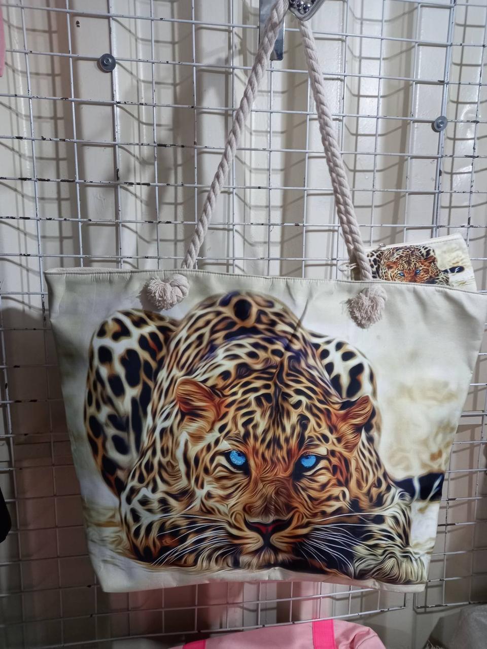 Пляжная женская сумка тканевая Леопард
