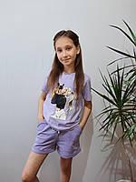 Детская футболка для девочки лилового цвета (7- 13 лет)