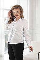 Элегантная белая женская рубашка классического кроя батал