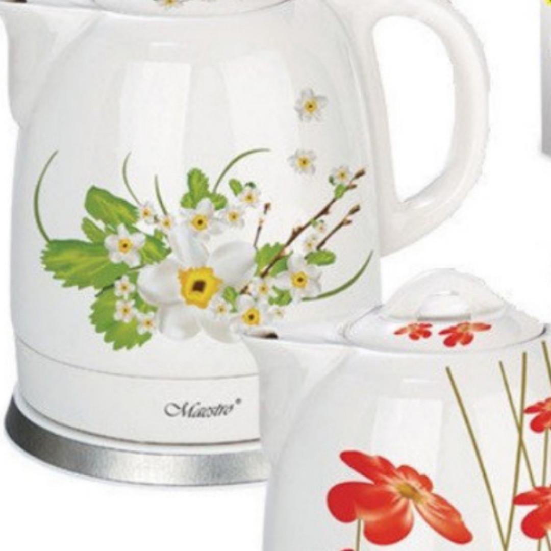 Керамічний чайник Maestro MR-066 (1,5 л,1200 Вт) біло-червоний | електричний чайник Маестро, Маестро