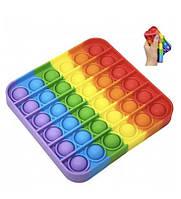 Антистрес сенсорна іграшка Pop It Поп Іт райдужний квадрат, фото 1