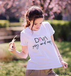 Женская белая футболка FT-173white-DiVA