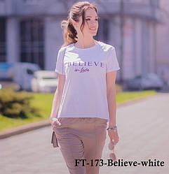 Женская белая футболка FT-173white-BELIEVE