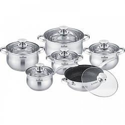 Набір каструль і сковорідок з кришкою Maxmark MK-BL2512A з 12 предметів