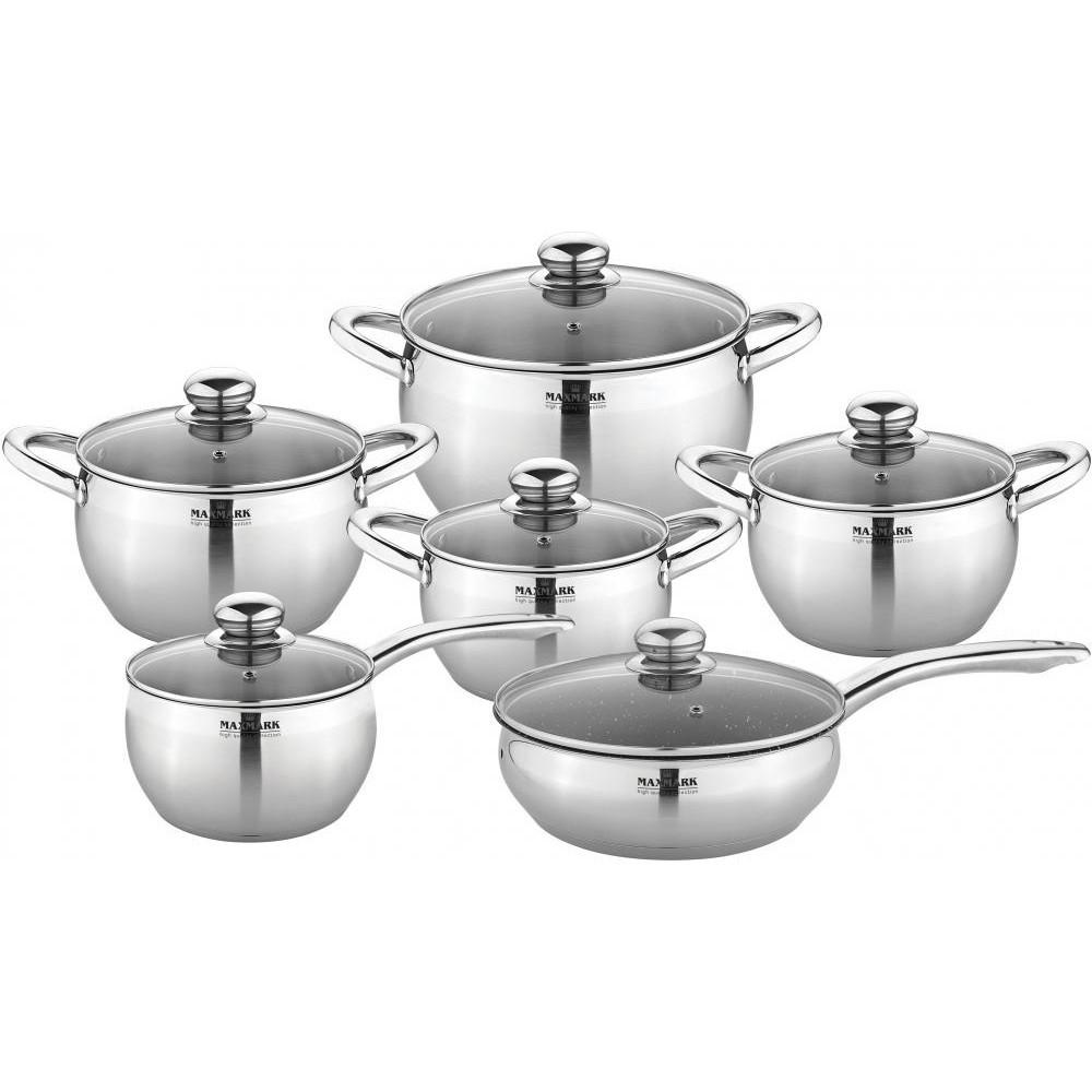 Набор кастрюль и сковородок с крышками Maxmark MK-APP7512A из 12 предметов