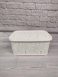 Корзина для хранения Ажур Elif 374 белого цвета