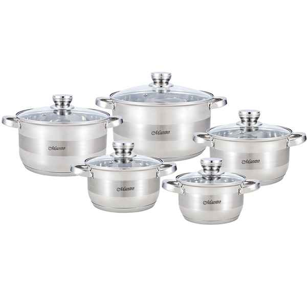Набор посуды Maestro MR-2220-10, 10 предметов, нержавеющая сталь, все типы плит   кастрюли Маэстро, Маестро