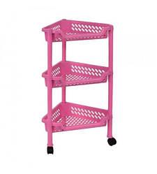 Пластиковая этажерка угловая Консенсус К3-5 розовая 3 полки