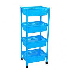 Пластиковая этажерка прямоугольная Консенсус K4-4 голубая 4 полки