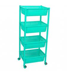 Пластиковая этажерка прямоугольная Консенсус K4-3 бирюзовая 4 полки