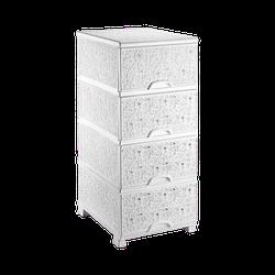 Комод ажурний 37,5х45,5х90 см Elif Plastik 295 колір білий