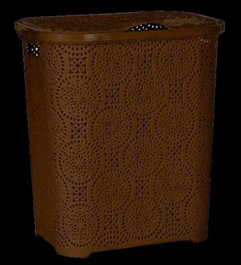 Корзина для белья с крышкой Senyayla Кружево 50л цвет шоколадный