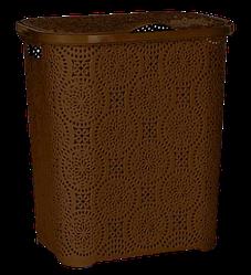 Кошик для білизни з кришкою Senyayla Мереживо 50л колір шоколадний
