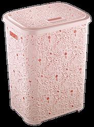Кошик для білизни з кришкою Ажур 67 л колір рожевий
