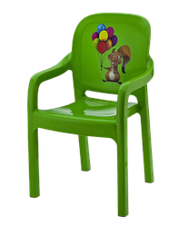 Стілець дитячий Senyayla зі спинкою зелений з малюнком золото