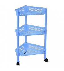 Пластиковая этажерка угловая Консенсус К3-4 голубая 3 полки