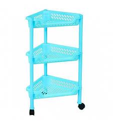 Пластиковая этажерка угловая Консенсус К3-3 бирюзовая 3 полки