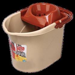Ведро для швабры с отжимом 13л Elif-380 коричневое