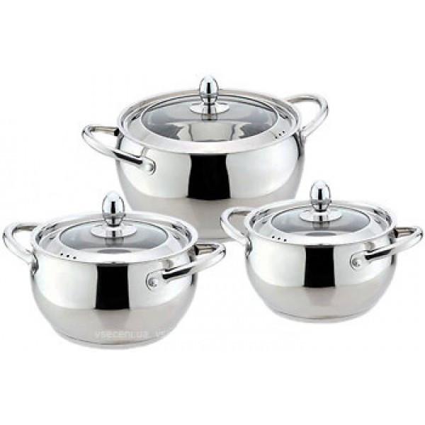 Набор посуды Maestro MR-3509-6M, 6 предметов, нержавеющая сталь   кастрюли с крышками Маэстро, Маестро