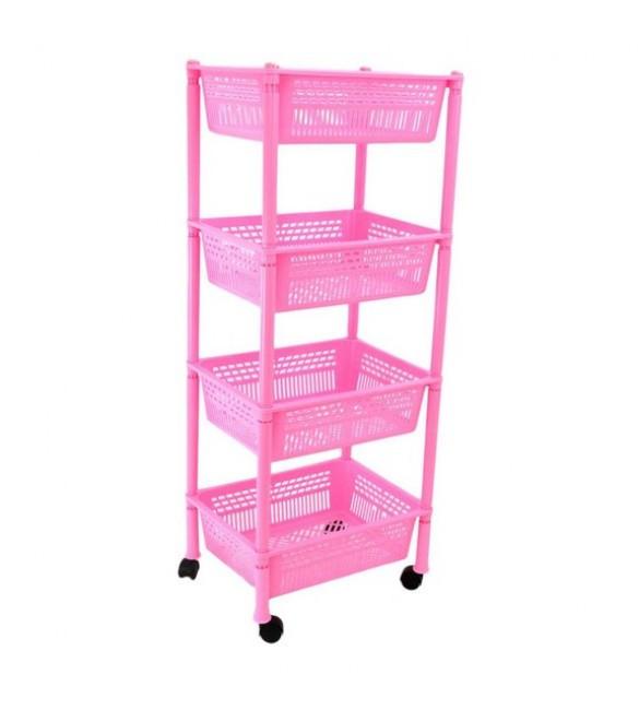 Этажерка прямоугольная Консенсус розовая K4-5 #PO