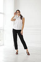 Жіноча біла сорочка з мереживним коротким рукавом, фото 1