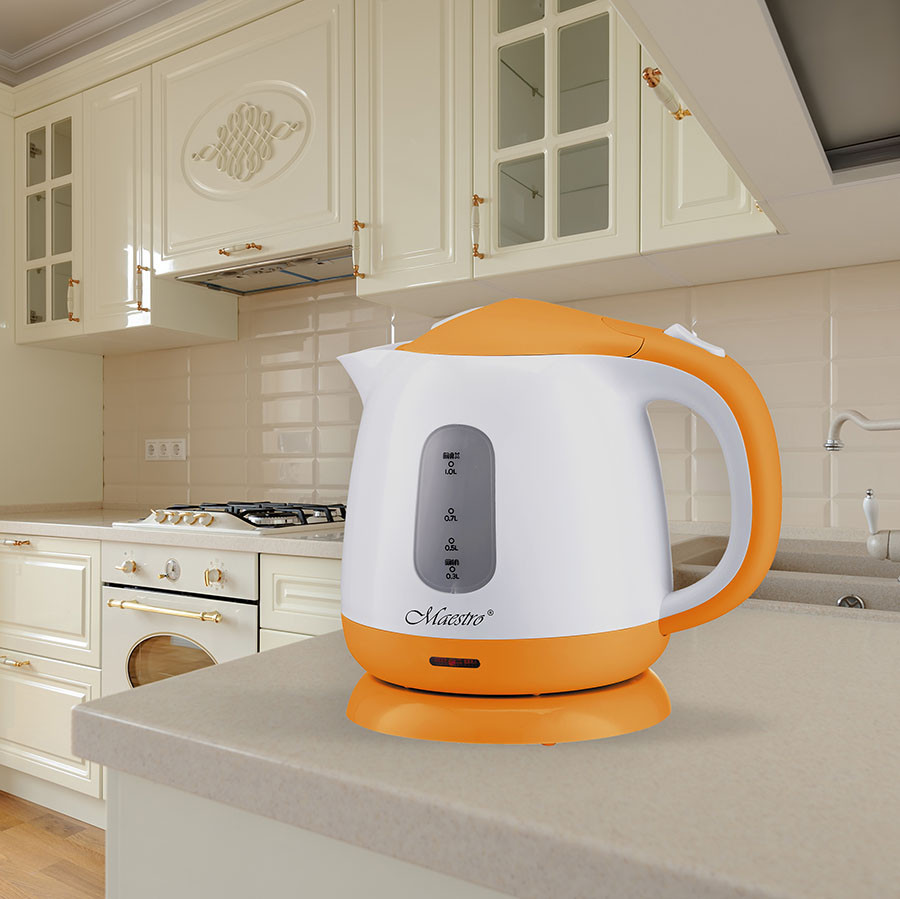 Чайник Maestro MR-012 білий з оранжевим (1 л, 1100 Вт) | електричний чайник Маестро, Маестро