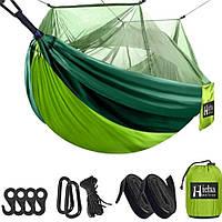 Туристический подвесной гамак с москитной сеткой Hammock Net Green | Туристичний гамак з москітною сіткою