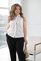 Женская белая рубашка с кружевным коротким рукавом батал