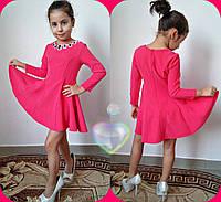 "Детское нарядное платье ""Камни""р. 116,122,128,134. Цвет горчица, электрик, бирюза, малина"