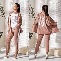 Брючный женский костюм тройка с Пиджак+штаны+футболка в больших размерах