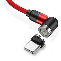 Магнітний кабель 2 МЕТРИ Lightning з швидкою зарядкою і синхронізацією TOPK AM66 LED поворотний 540° Червоний